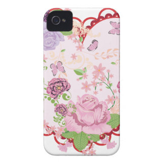 Vintage Roses Ornament and Heart 2 Case-Mate iPhone 4 Cases