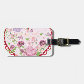Vintage Roses Ornament and Heart 2 Luggage Tag