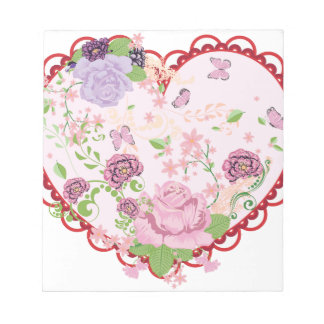 Vintage Roses Ornament and Heart 2 Notepad