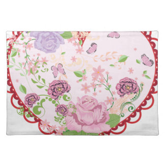Vintage Roses Ornament and Heart 2 Placemat