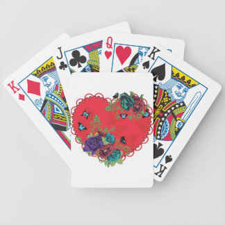 Vintage Roses Ornament and Heart Bicycle Playing Cards