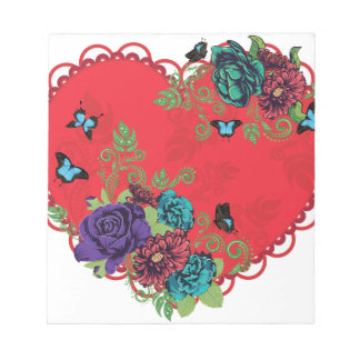 Vintage Roses Ornament and Heart Notepad