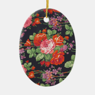 Vintage roses pattern ceramic oval ornament