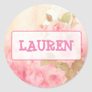 Vintage Roses Personalized Name Sticker