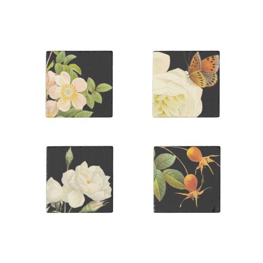 Vintage Roses set 2 Stone Magnets