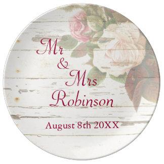 Vintage roses shabby chic custom wedding day plate