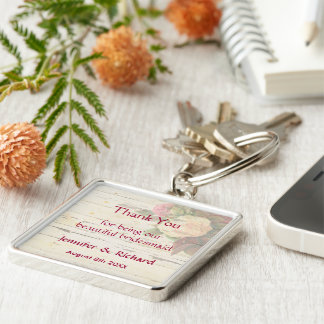 Vintage roses shabby chic custom wedding favor Silver-Colored square keychain