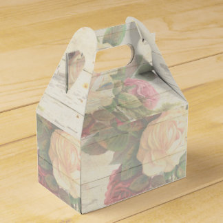 Vintage roses shabby chic wedding party favor box
