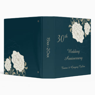 Vintage roses & swirls on teal Wedding Anniversary Vinyl Binders