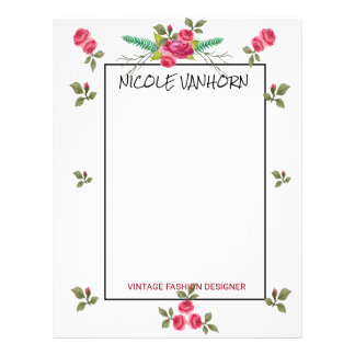 Vintage Roses watercolor Pattern Blooming Floral Letterhead Design