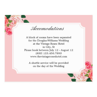 Vintage Roses Wedding Accommodations Postcard