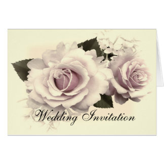 VINTAGE ROSES WEDDING INVITATION CARD