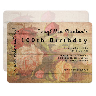 Vintage Roses Wood Milestone Birthday Invitation