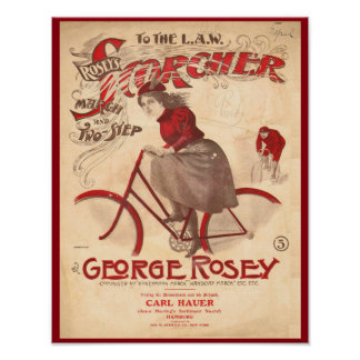 Vintage Rosey's Scorcher Bicycle Art Poster