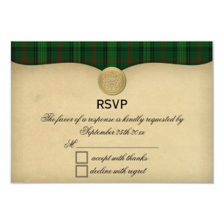 Vintage Ross Hunting Tartan Plaid Wedding RSVP Card