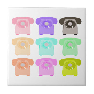 vintage rotary dial telephone tile
