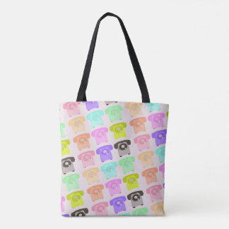 vintage rotary dial telephone tote bag