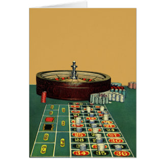 Vintage Roulette Table Casino Gambling Chips Game Card