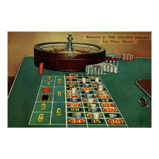 Vintage Roulette Table Casino Game, Gambling Chips Perfect Poster