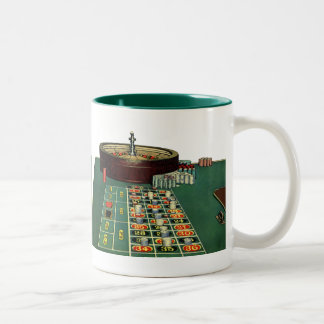 Vintage Roulette Table Casino Game, Gambling Chips Two-Tone Coffee Mug