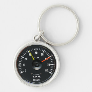 Vintage Round Analog Auto Tachometer Key Chain