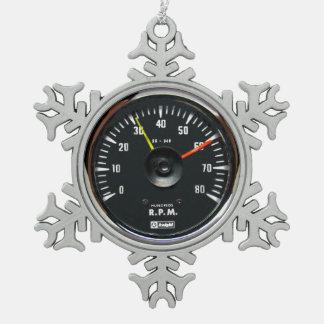 Vintage Round Analog Auto Tachometer Snowflake Pewter Christmas Ornament