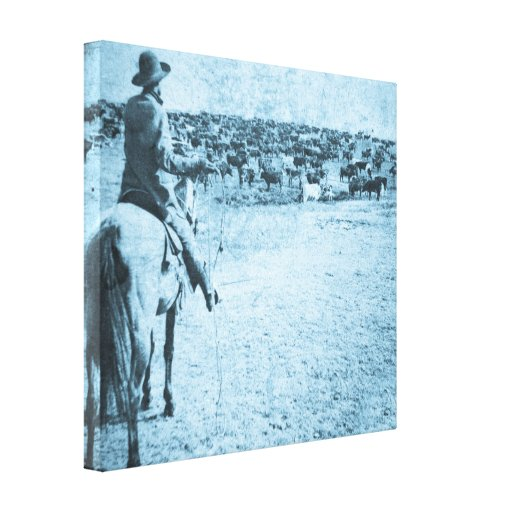 Vintage Round Up on Sherman Ranch Kansas Gallery Wrapped Canvas