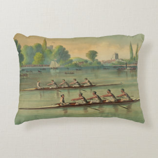 Vintage Rowers Crew Race Boat Race Accent Pillow