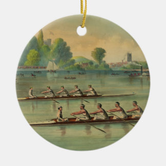 Vintage Rowers Crew Race Boat Race Ceramic Ornament