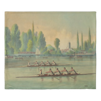 Vintage Rowers Crew Race Boat Race Duvet Cover