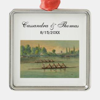 Vintage Rowers Crew Race Boat Race Metal Ornament