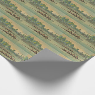 Vintage Rowers Crew Race Boat Race Wrapping Paper