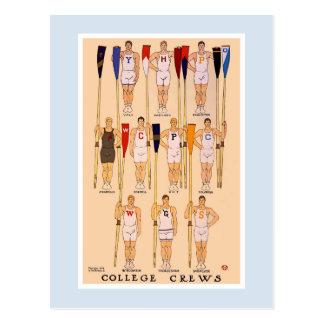 Vintage rowing 1908 college crews postcard
