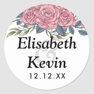 Vintage royal art deco roses painting round sticker