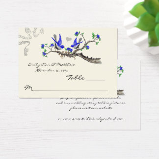 Vintage Royal Blue and Gray Table Place Cards