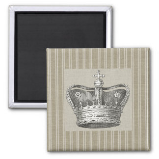 Vintage Royal Crown Decorative Beige Stripes Square Magnet