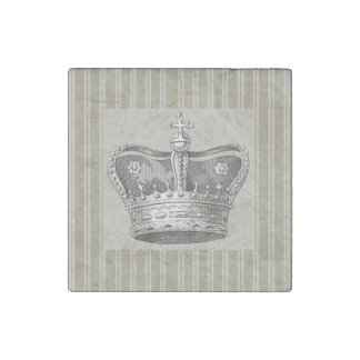 Vintage Royal Crown Decorative Beige Stripes Stone Magnets