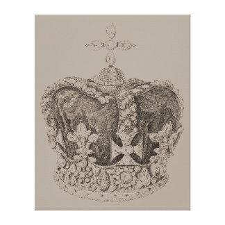 Vintage Royal Crown Sketch on Canvas