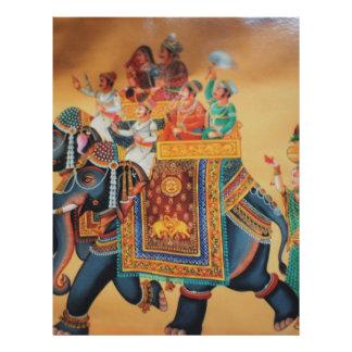 VINTAGE ROYAL INDIAN WEDDING PROCESSION  ELEPHANT LETTERHEAD DESIGN