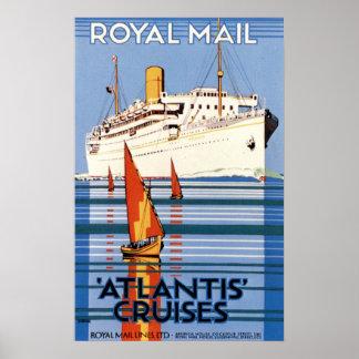 Vintage Royal Mail Atlantis Cruises Poster