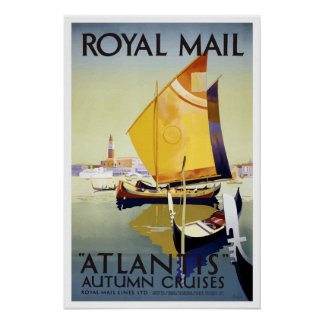 Vintage Royal Mail Venice Italy Atlantis Cruise Poster