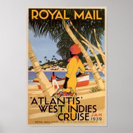 Vintage Royal Main Atlantis West Indies Cruise Jan Poster