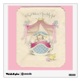 Vintage Royal Welcome Baby Girl Wall Decal