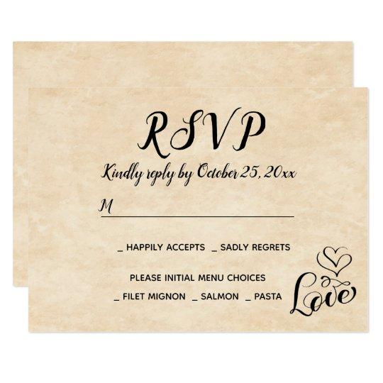Vintage RSVP Brown Love Heart Grunge Wedding Party Card