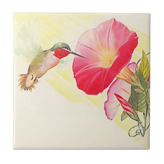 Vintage Ruby Throated Hummingbird Bird Flower Tile