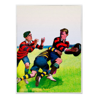 Vintage Rugby Watercolor Print