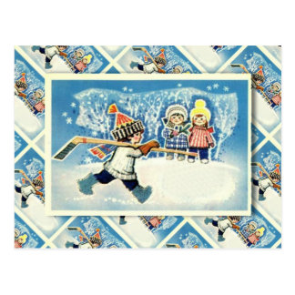 Vintage Russian Christmas, ice hockey player Postcard
