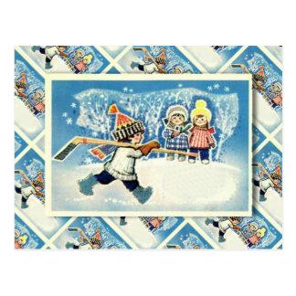 Vintage Russian Christmas, ice hockey player Postcard