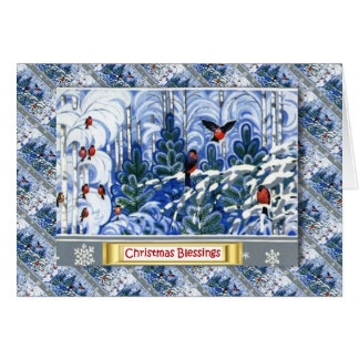 Vintage Russian Christmas, Robins in the forest Card