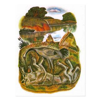 Vintage Russian illustrations, Aesop's fables 6 Postcard